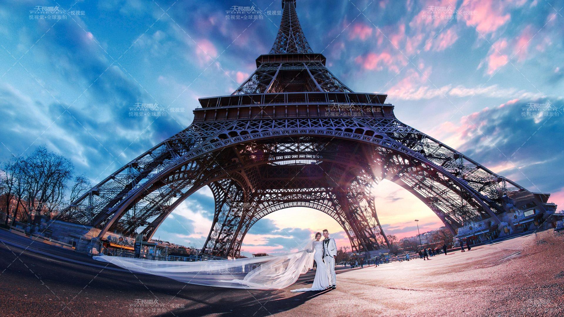 巴黎建筑的手绘图